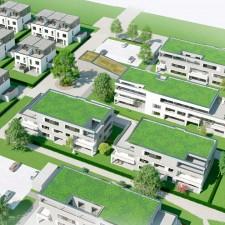 Mehrfamilienhäuser Langweid 2. BA aus der Vogelperspektive (Darstellung aus Sicht des Illustrators) - M. Dumberger Bauunternehmung GmbH & Co. KG