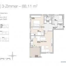 Wohnung 3 - Mehrfamilienhäuser Langweid 2. BA - M. Dumberger Bauunternehmung GmbH & Co. KG