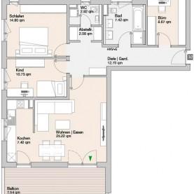 Wohnung 32 - Mehrfamilienhäuser Langweid 2. BA - M. Dumberger Bauunternehmung GmbH & Co. KG