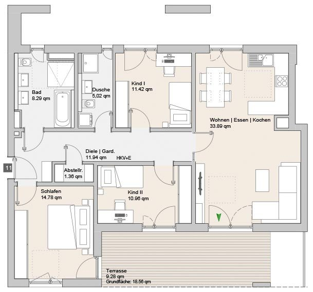 Wohnung 11 - Mehrfamilienhäuser Langweid 2. BA - M. Dumberger Bauunternehmung GmbH & Co. KG