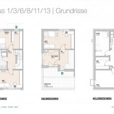 Grundrisse OG/DG/KG Haus 1/3/6/8/11/13 - Reihen-/Doppelhäuser Langweid 3. BA - M. Dumberger Bauunternehmung GmbH & Co. KG
