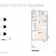Grundriss EG Haus 2/5/7/10/12/15 - Reihen-/Doppelhäuser Langweid 3. BA - M. Dumberger Bauunternehmung GmbH & Co. KG