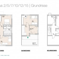 Grundrisse OG/DG/KG Haus 2/5/7/10/12/15 - Reihen-/Doppelhäuser Langweid 3. BA - M. Dumberger Bauunternehmung GmbH & Co. KG