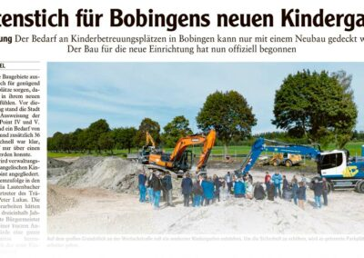 Spatenstich für Bobingens neuen Kindergarten (Artikel Augsburger Allgemeine)