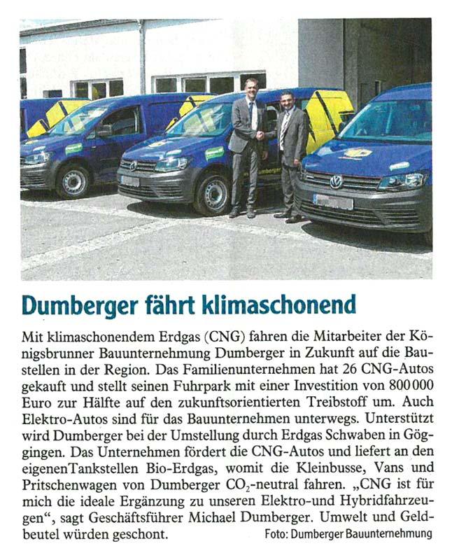 Pressemeldung zur Auslieferung der neuen Erdgasfahrzeuge in der Augsburger Allgemeine - M. Dumberger Bauunternehmung GmbH & Co. KG