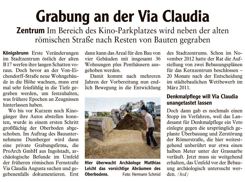 Grabung im Königsbrunner Stadtzentrum